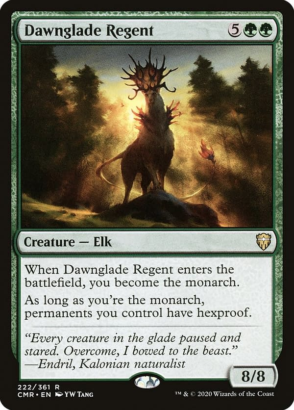 Dawnglade Regent, one of the cards in this Commander deck for Magic: The Gathering. Seen here in itsoriginal Commander Legends printing.