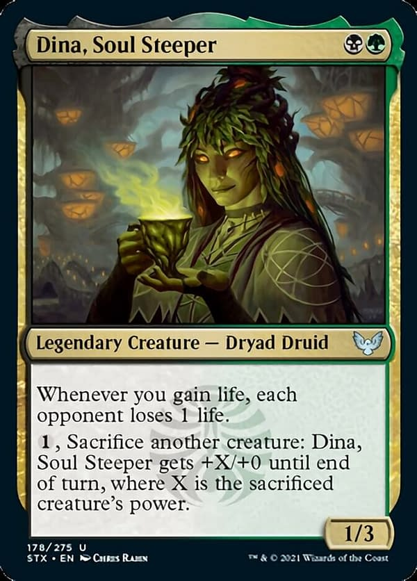 Dina, Soul Steeper, a new card from Strixhaven, School of Mages, the newest expansion for Magic: The Gathering.