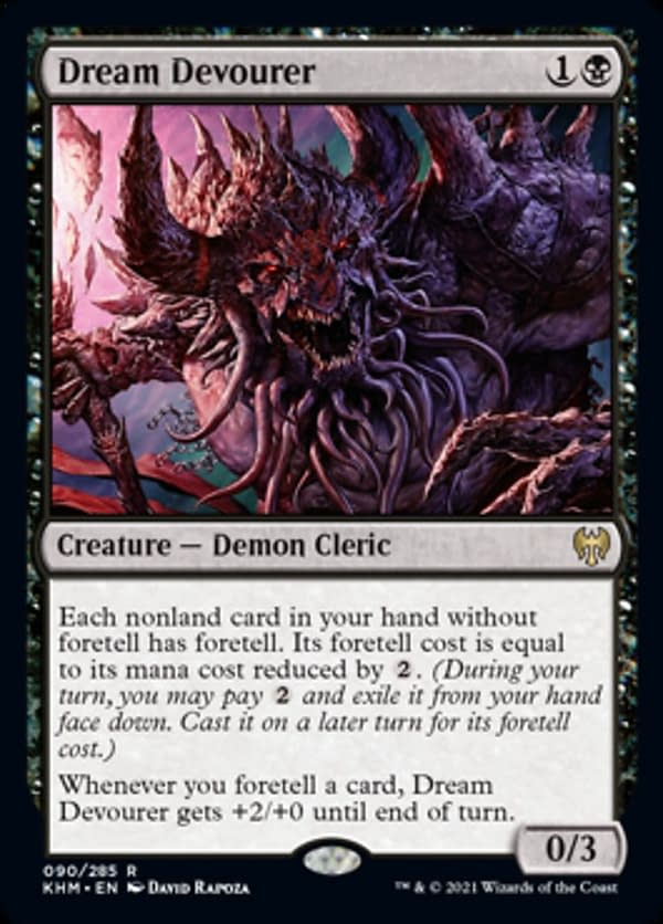 Dream Devourer, a card from Magic's Kaldheim expansion. This card is the lynchpin of our Sen Triplets Commander deck.