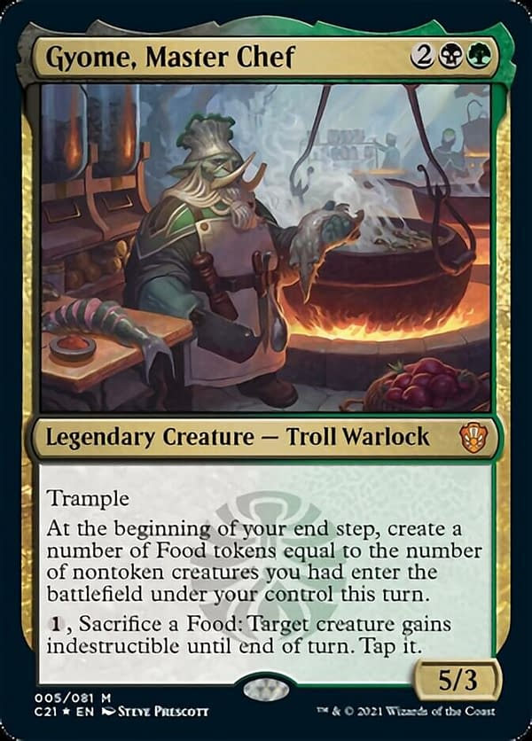 Gyome, Master Chef, a new card from Magic: The Gathering's Commander 2021 release and the commander of this deck.