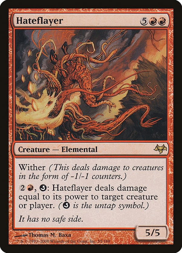 Hateflayer, a Magic: The Gathering card from the Eventide expansion set. This card is the other key part of a multi-component combo in this Commander deck.