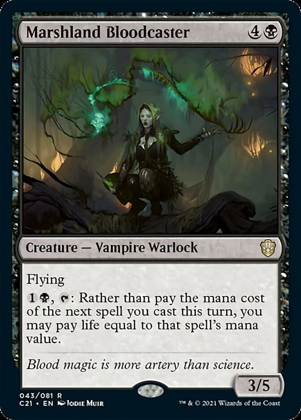 Marshland Bloodcaster, a new creature card from Magic: The Gathering's Commander 2021 release. Originally showcased by LoadingReadyRun.