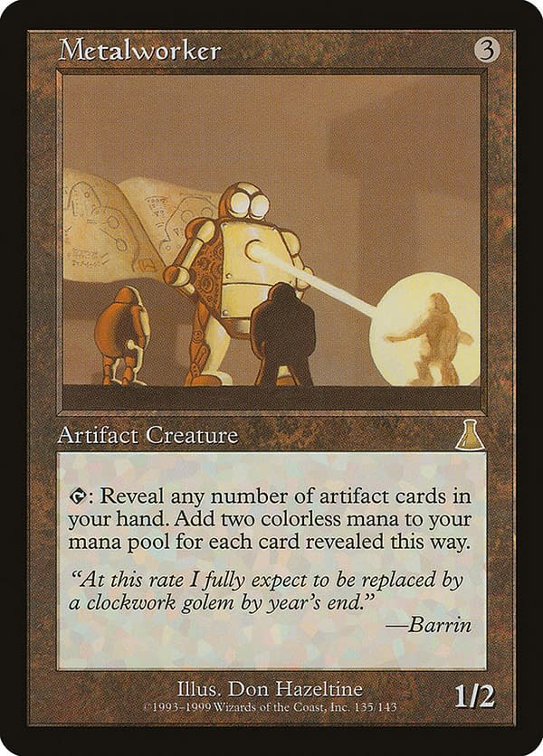 Metalworker, an artifact creature from Magic: The Gathering's Urza's Destiny expansion.