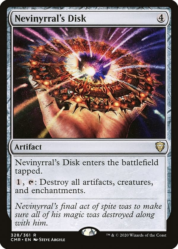 Nevinyrral's Disk, a Magic: The Gathering card reprinted many times and a key card for Mairsil, the Pretender. Here shown in its Commander Legends iteration.