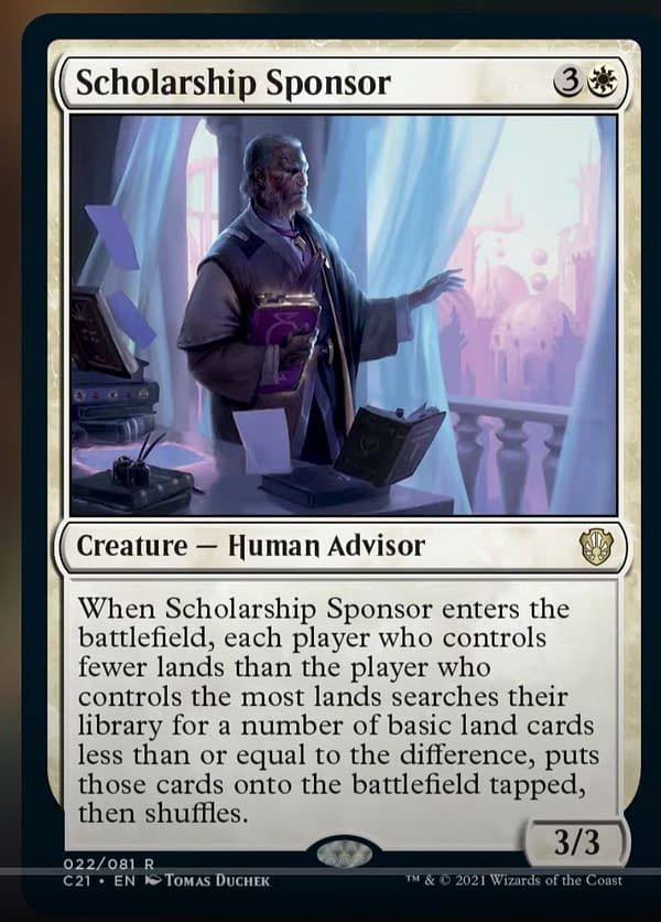 Scholarship Sponsor, a new creature card from Commander 2021, the new release for Magic: The Gathering. Image revealed by MTGMuddstah on YouTube.