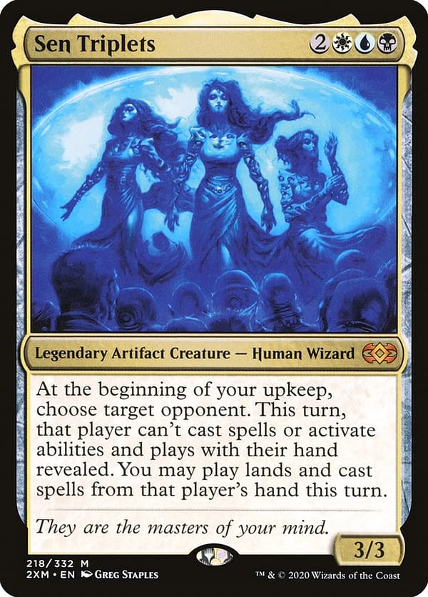 Sen Triplets, the commander of this Magic deck. Seen here in its Double Masters printing.