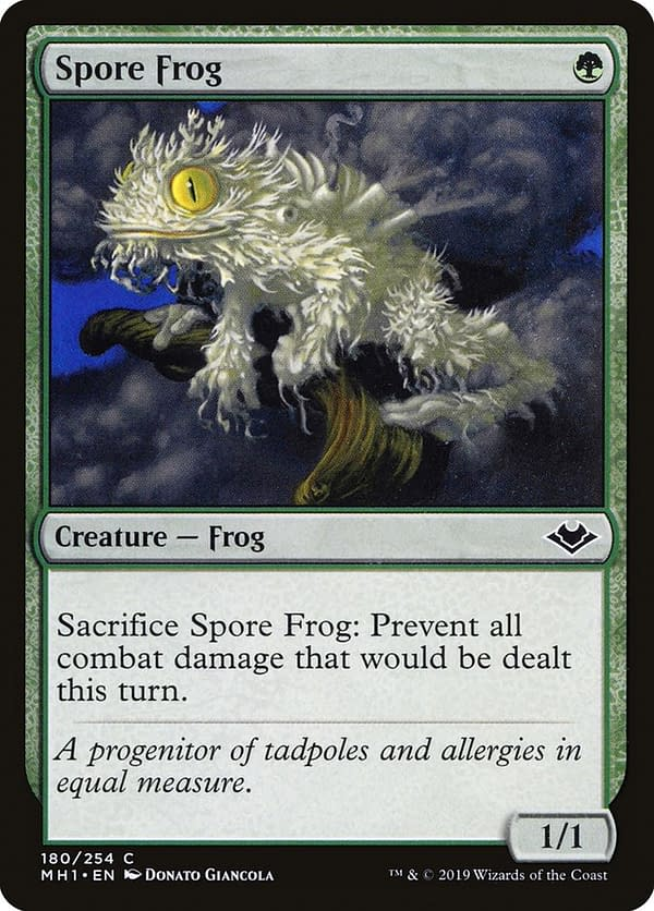 Spore Frog, one of the cards in this Commander deck for Magic: The Gathering. Seen here in itsModern Horizons printing.