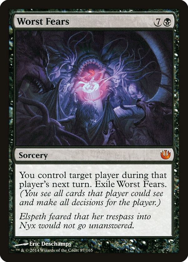 Worst Fears, a Magic card from the Journey Into Nyx expansion set and part of the final win conditions of this Commander deck.