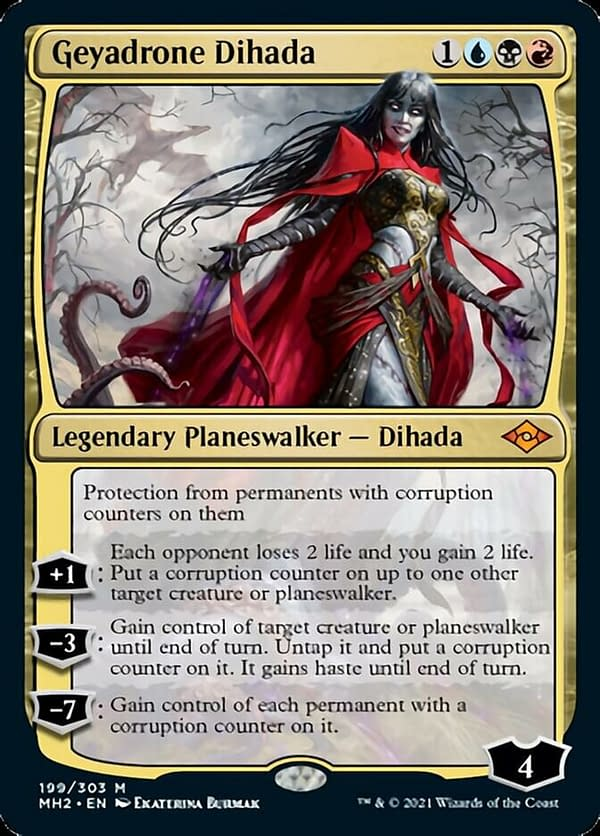 Geyadrone Dihada, a new planeswalker card from Modern Horizons 2, the upcoming set for Magic: The Gathering.