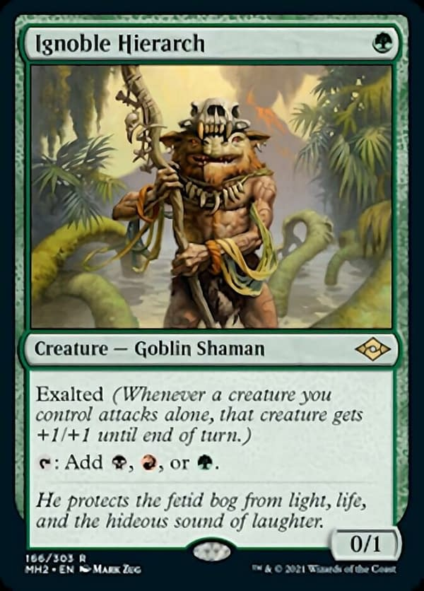 Ignoble Hierarch, a new creature card from Modern Horizons 2, Magic: The Gathering's next upcoming supplemental set.