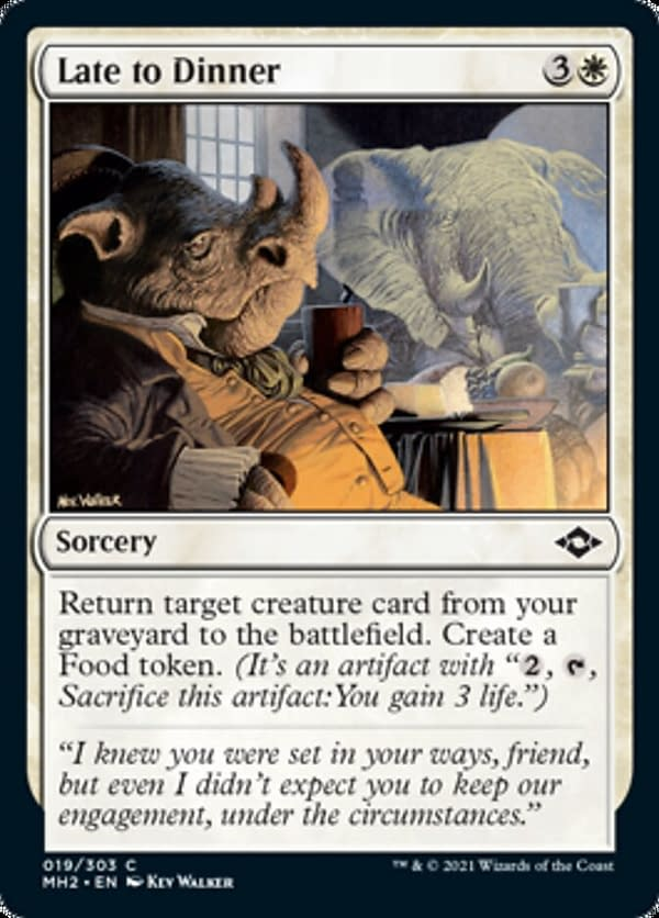 Late to Dinner, a new card from Modern Horizons 2, the upcoming set from Magic: The Gathering.