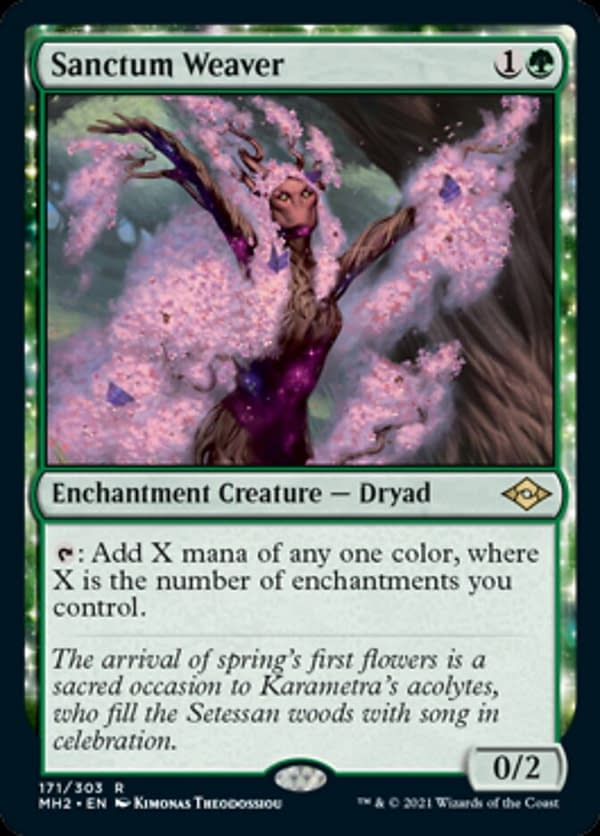 Sanctum Weaver, a new enchantment creature in Modern Horizons 2, Magic: The Gathering's next upcoming expansion set.