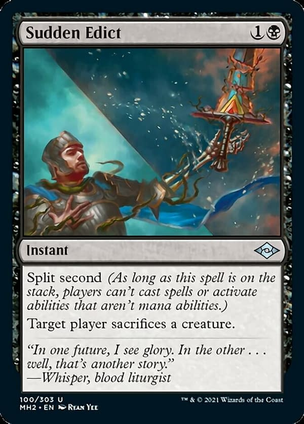 Sudden Edict, a new instant card for Modern Horizons 2, the latest upcoming set for Magic: The Gathering.