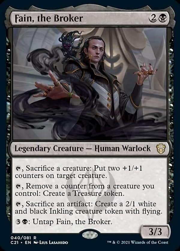 Fain, the Broker, a card from the Commander 2021 release for Magic: The Gathering.