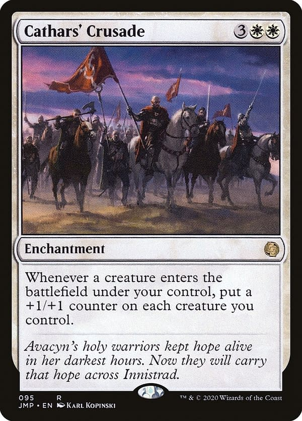 Cathars' Crusade, a card from the Avacyn Restored expansion for Magic: The Gathering. Here shown in its Jumpstart iteration.