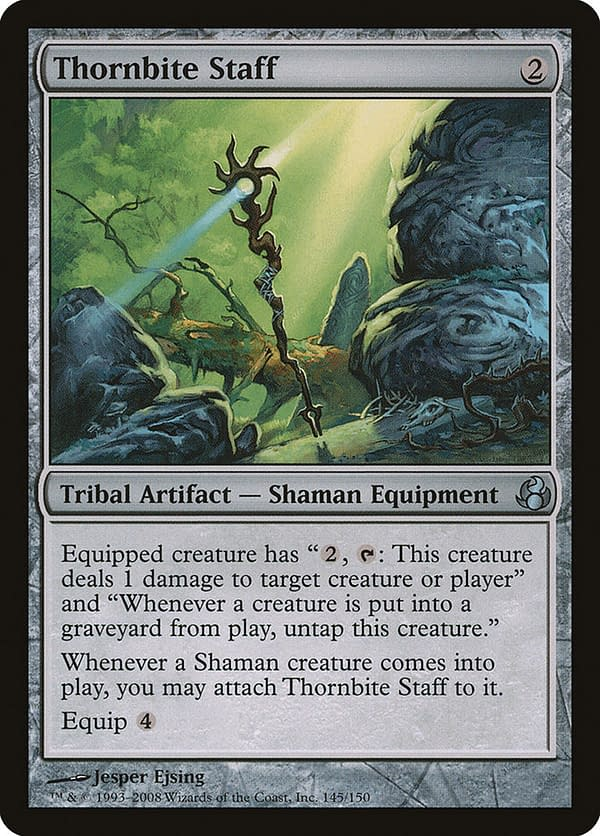 Thornbite Staff, a Magic: The Gathering card from Morningtide, a set from 2008.