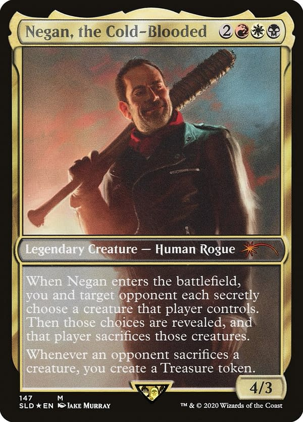 Negan, the Cold-Blooded, a card from The Walking Dead release for Magic: The Gathering, released through Secret Lair and retroactively made part of the Universes Beyond series.