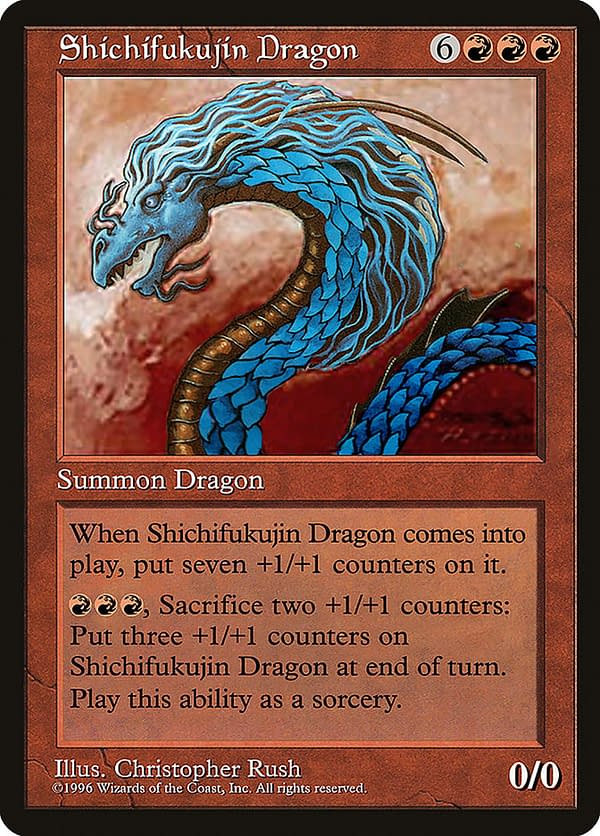 Shichifukujin Dragon, a one-of-a-kind Magic: The Gathering card made by Wizards of the Coast to celebrate the opening of the DCI Tournament Center in Tokyo, Japan.