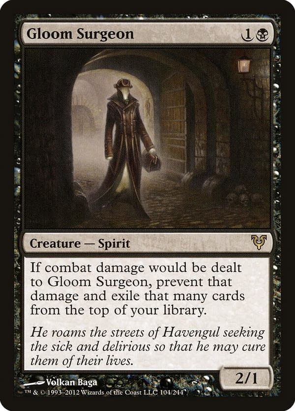 Gloom Surgeon, a card from the Magic: The Gathering's Avacyn Restored expansion.