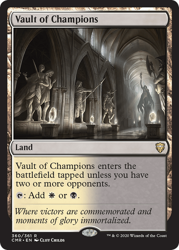 Vault of Champions, a new card from Commander Legends, an upcoming set for Magic: The Gathering.