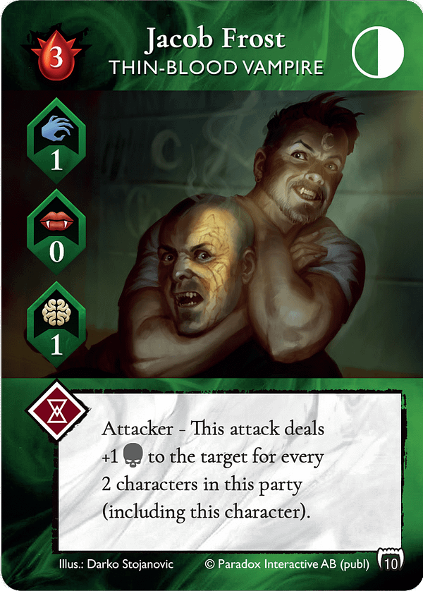 The alternate-art version of Jacob Frost, a Thin-Blood vampire Leader card from Vampire: The Masquerade Rivals' first expansion set, Blood & Alchemy. Source: Renegade Game Studios