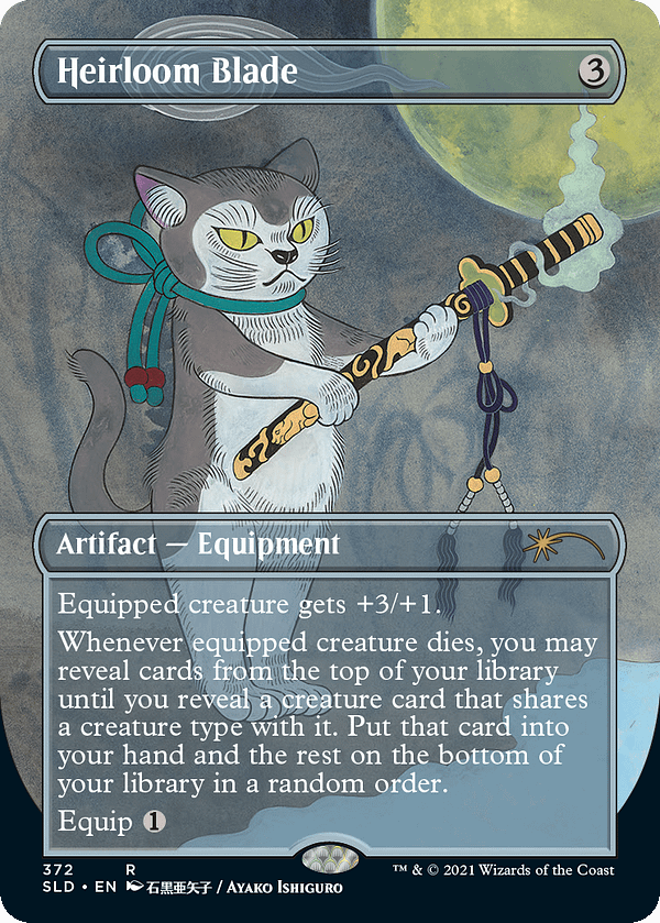 Heirloom Blade, a card from Magic: The Gathering, reprinted in Secret Lair: Purrfection for Hasbro's PulseCon 2021 event.