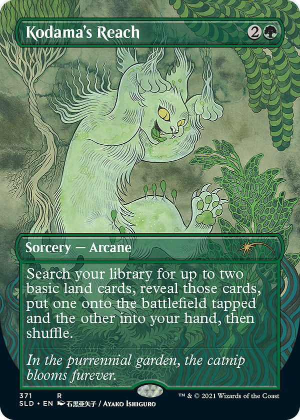 Kodama's Reach, a card from Magic: The Gathering, reprinted in Secret Lair: Purrfection for Hasbro's PulseCon 2021 event.