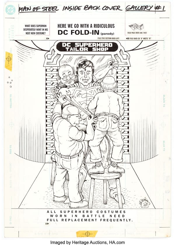 Al Jaffee's MAD Magazine Superman Fold-Out Original Art At Auction