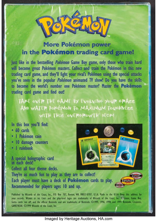 The back face of the sealed box containing the Overgrowth preconstructed deck from the Pokémon TCG. Currently available at auction on Heritage Auctions' website.