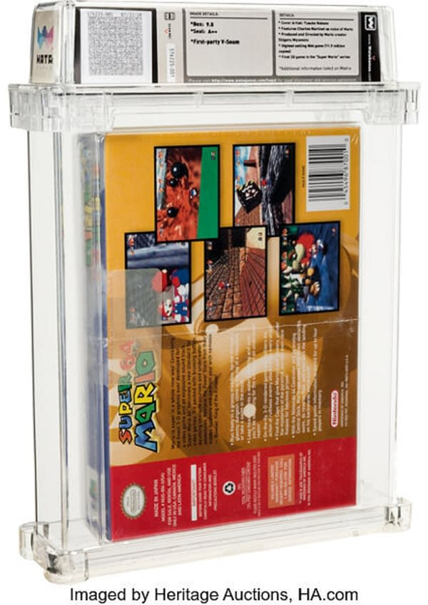 The back cover of the sealed copy of Super Mario 64 that just recently went for $1.56 million on auction at Heritage Auctions.