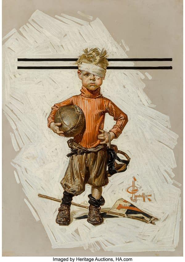 "J.C. Leyendecker November 21, 1914 issue of The Saturday Evening Post, titled ""Beat-up Boy, Football Hero"""