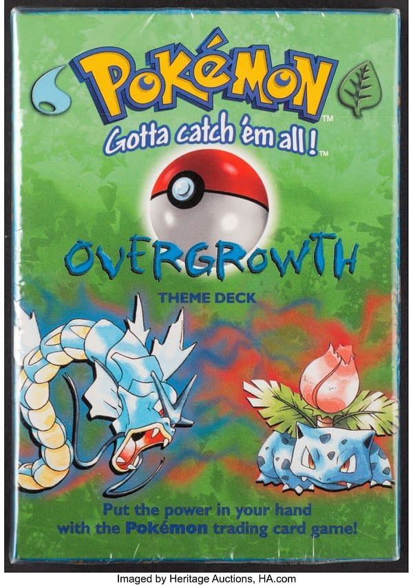 The front face of the sealed box containing the Overgrowth preconstructed deck from the Pokémon TCG. Currently available at auction on Heritage Auctions' website.