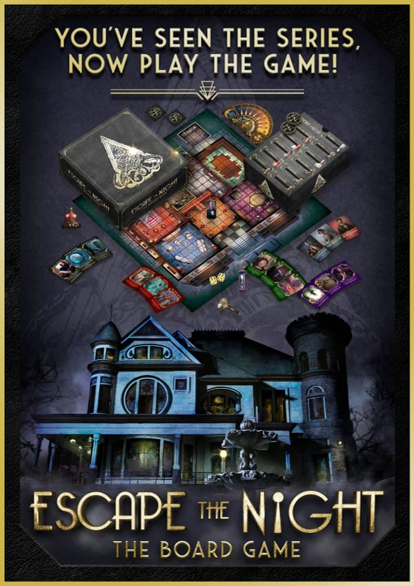 Promotional material from the Escape The Night tabletop game by Studio71 Games, featuring both an array of the game's components and some key art for the game.