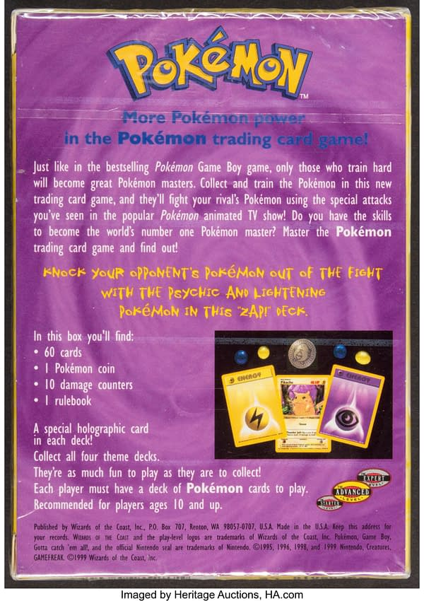 The back face of the box for Zap!, a preconstructed Pokémon TCG deck from 1999 that features Psychic and Electric Pokémon cards. Currently available at auction on Heritage Auctions' website.