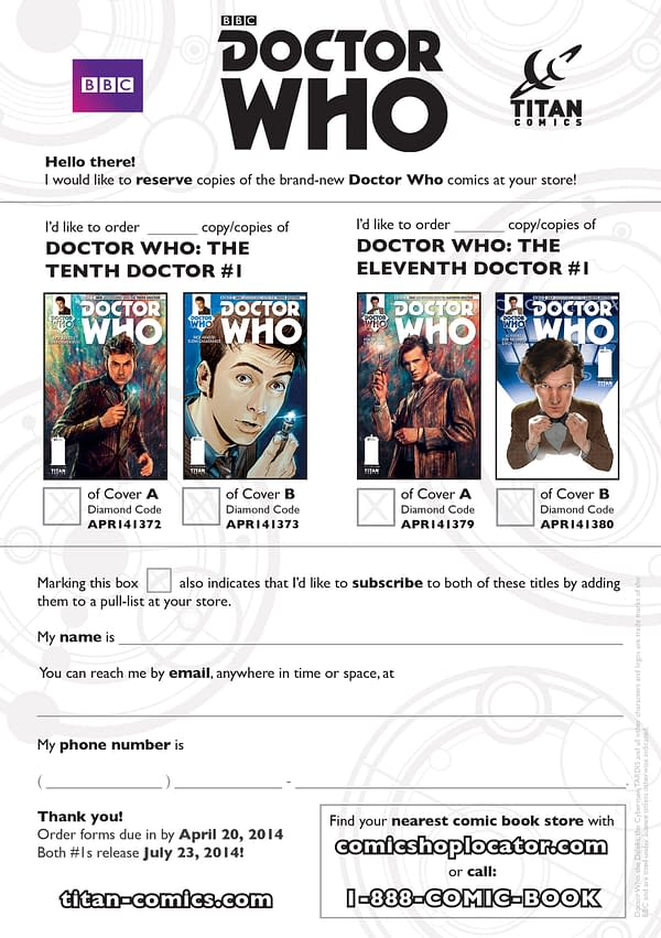 Doctor Who comics pre-order form