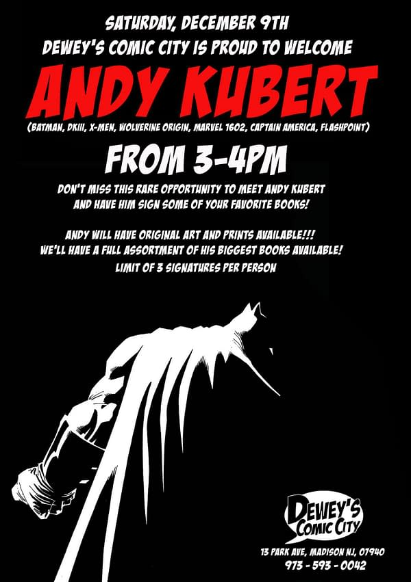 When the Master Visits the Student: Andy Kubert in New Jersey on Saturday
