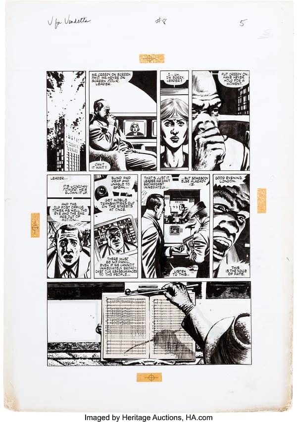 Alan Moore & David Lloyd's V For Vendetta Original Artwork At Auction