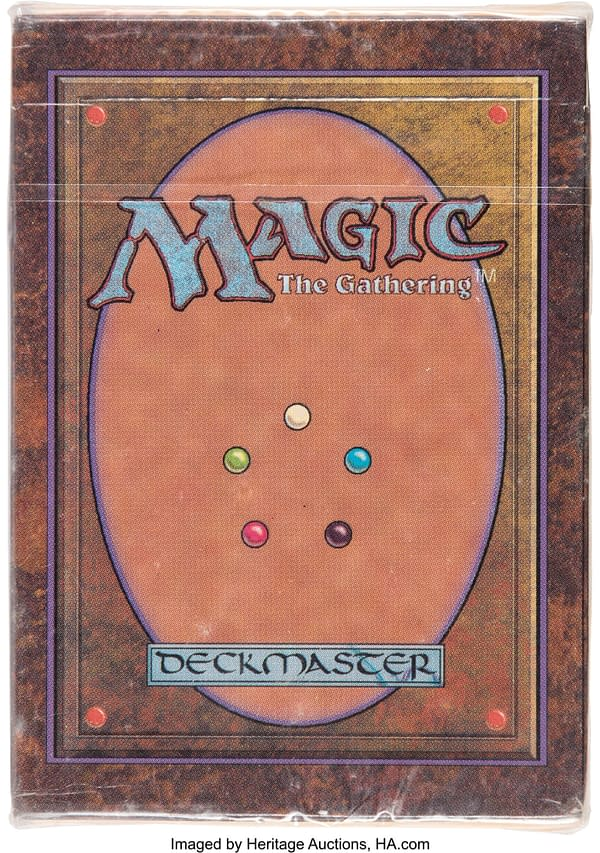 The front of the sealed box for the Magic: The Gathering Alpha Starter Deck.  Currently available for auction at Heritage Auctions.