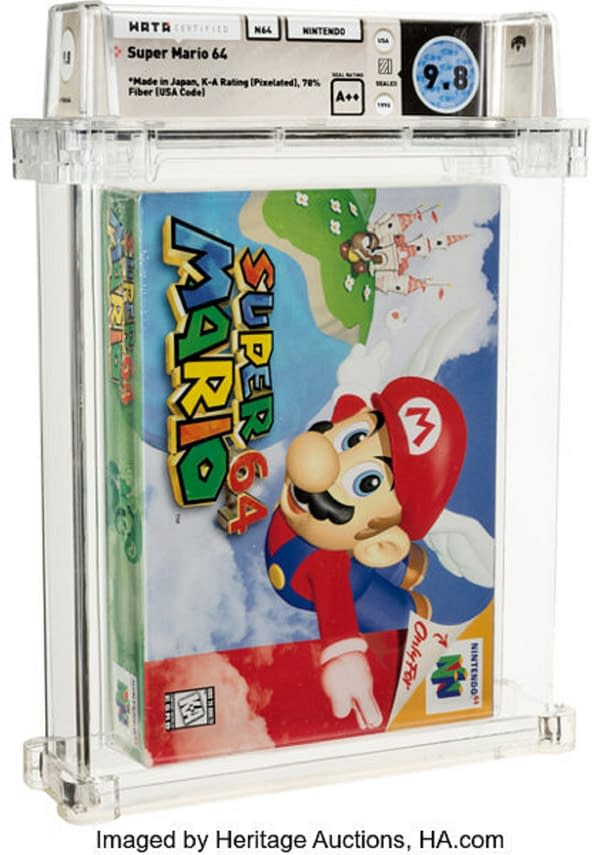 The front of the sealed copy of Super Mario 64 that just recently went for $1.56 million on auction at Heritage Auctions.