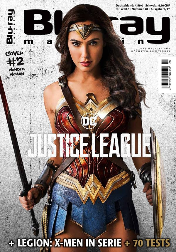 Gal Gadot Wonder Woman Justice League cover of Blu-ray Magazine