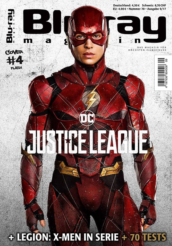 Ezra Miller Flash Justice League cover of Blu-ray Magazine
