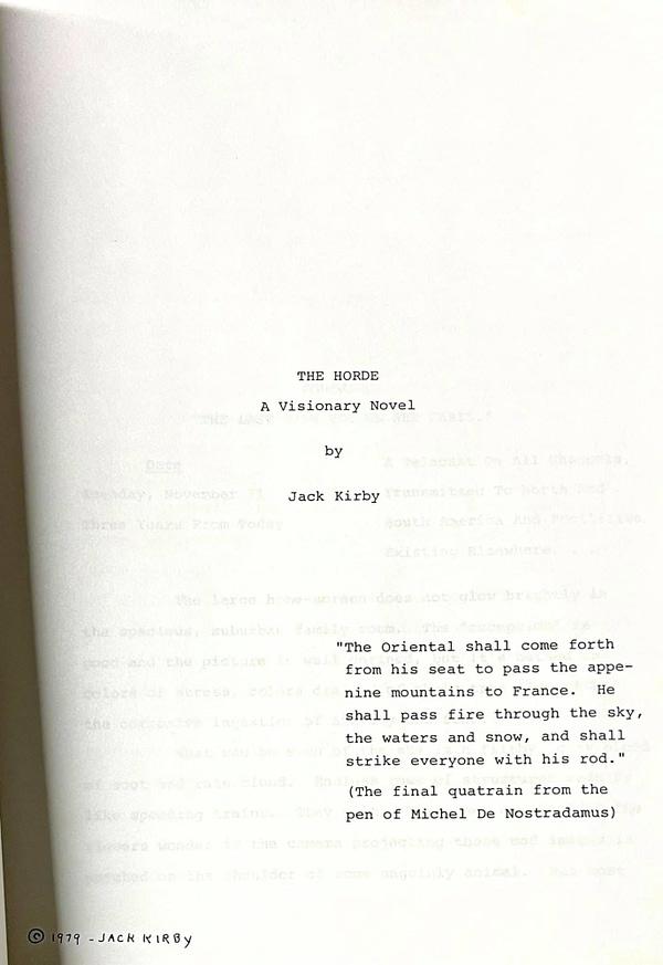 Chuck Rozanski Gets Jack Kirby's Unpublished Novel, The Horde.