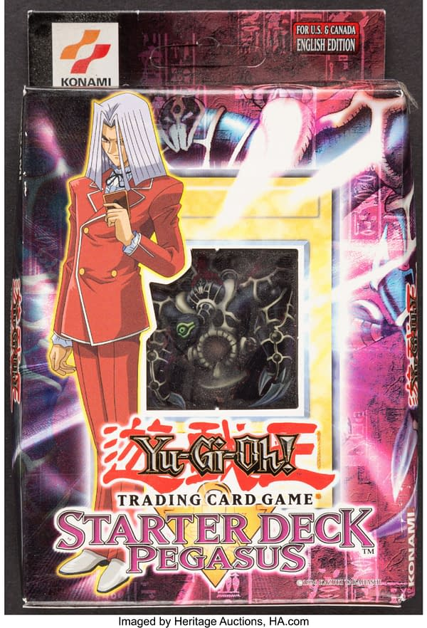 The front of the box for the Starter Deck Pegasus from the Yu-Gi-Oh! card game. Currently available at auction on Heritage Auctions' website.