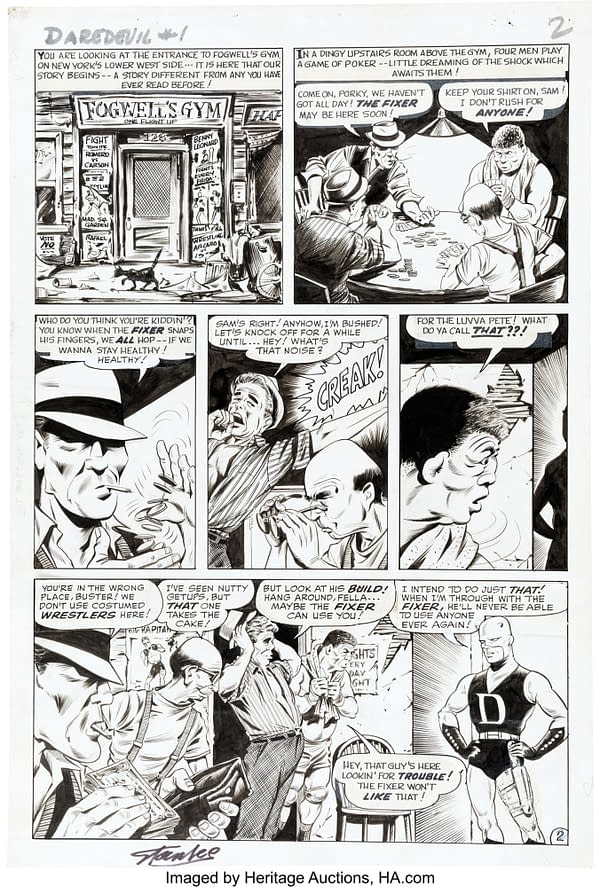 First Story Page Of Daredevil #1 Original Artwork, At Auction