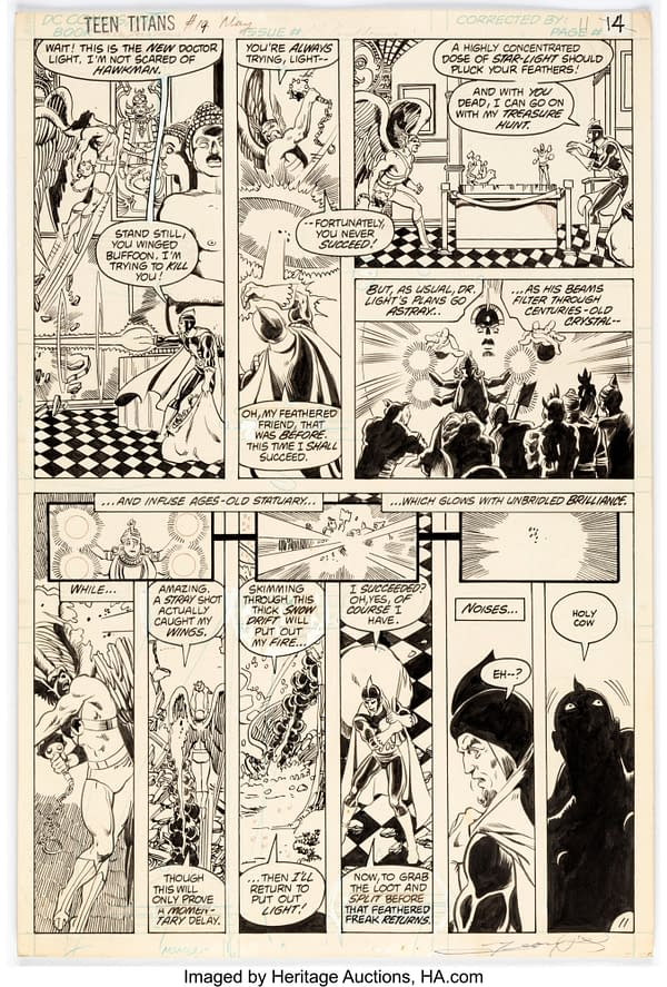 Grab a Page Of George Perez Teen Titans Original Artwork From 1982