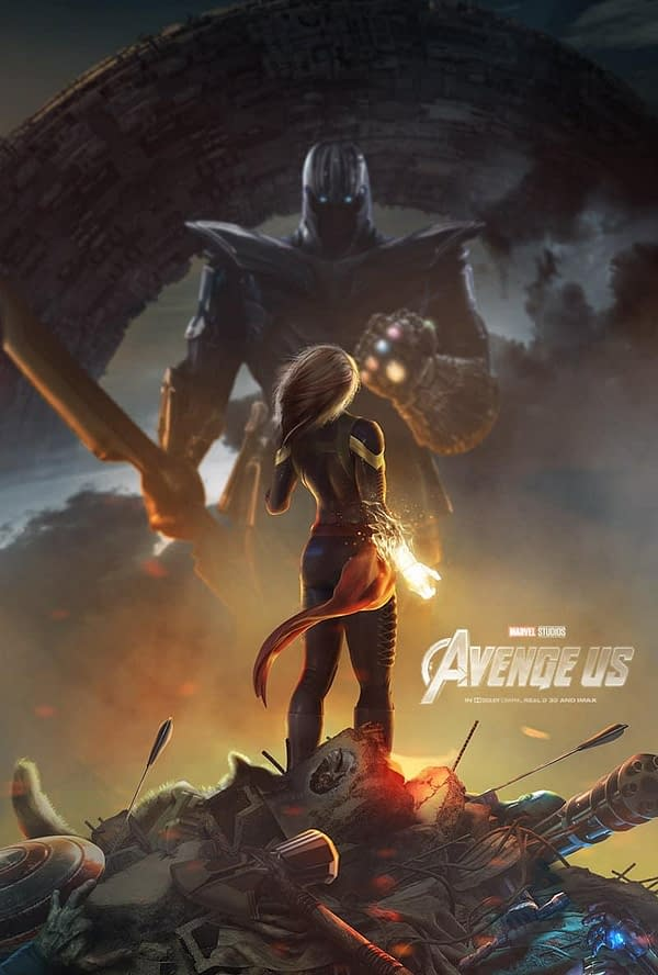 BossLogic's Badass Captain Marvel vs. Thanos Poster