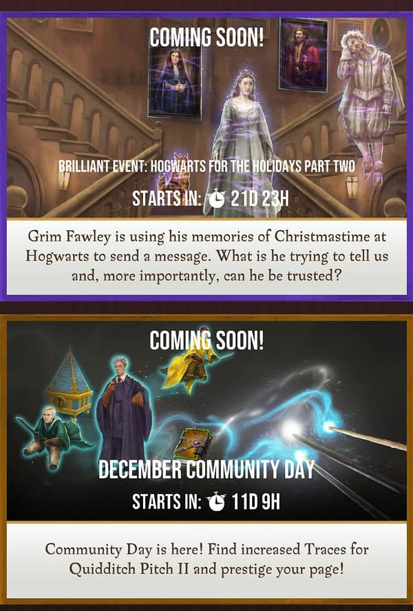Harry Potter: Wizards Unite upcoming events. Credit: Niantic
