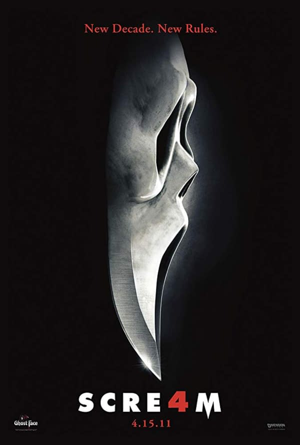 Scream 4 movie poster, courtesy of The Weinstein Company.