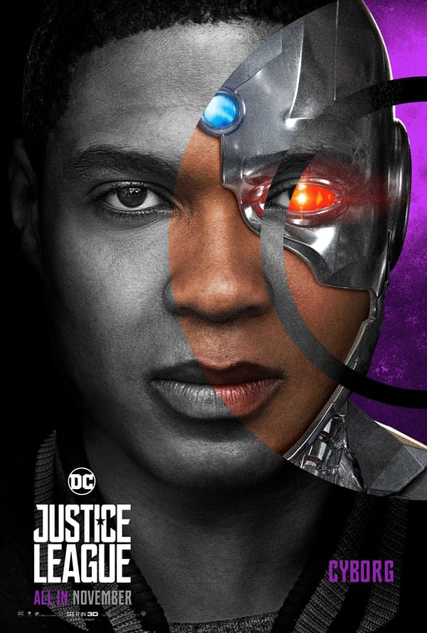A Ray Fisher as Cyborg character poster from Justice League. Image Credit: Warner Bros.