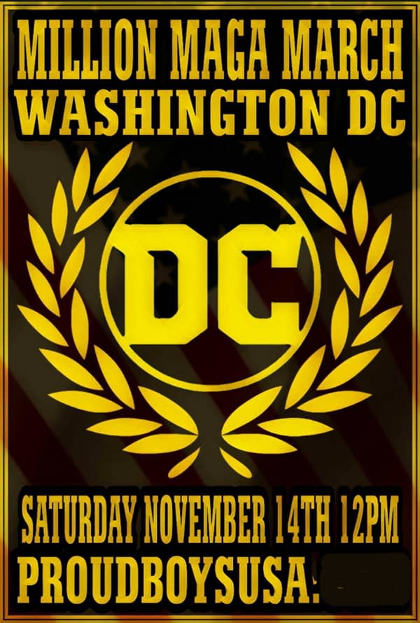 Proud Boys Use DC Comics Logo For Washington Protests This Weekend